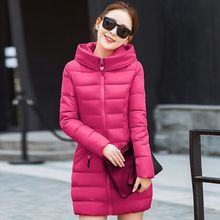 Размер М ~ 3XL Длинные Зимы Женщин Вниз Пальто Хлопка 2016 Высокое Качество 9 Красный Цвет Молнии С Капюшоном Теплый Тонкий Пальто Твердые Карманы Парки