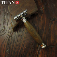 Titan natural wood handle double edge shaving safety razor free shipping