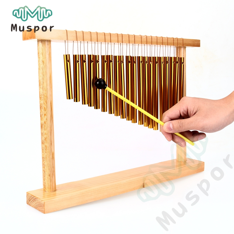 20 Tone Table Top Bar Chimes 20 Bars Single row Musical Percussion Instrument With Wood Stand