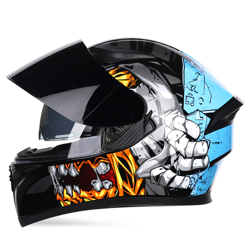 Full Face Motorcycle Helmet Professional Racing Helmet DOT Motocross Off Road Touring Dual Lens Casco vespa