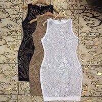 Top Quality Khaki Black White Gold Bead Sleeveless Bodycon Dress Fashion Bling Party Dress