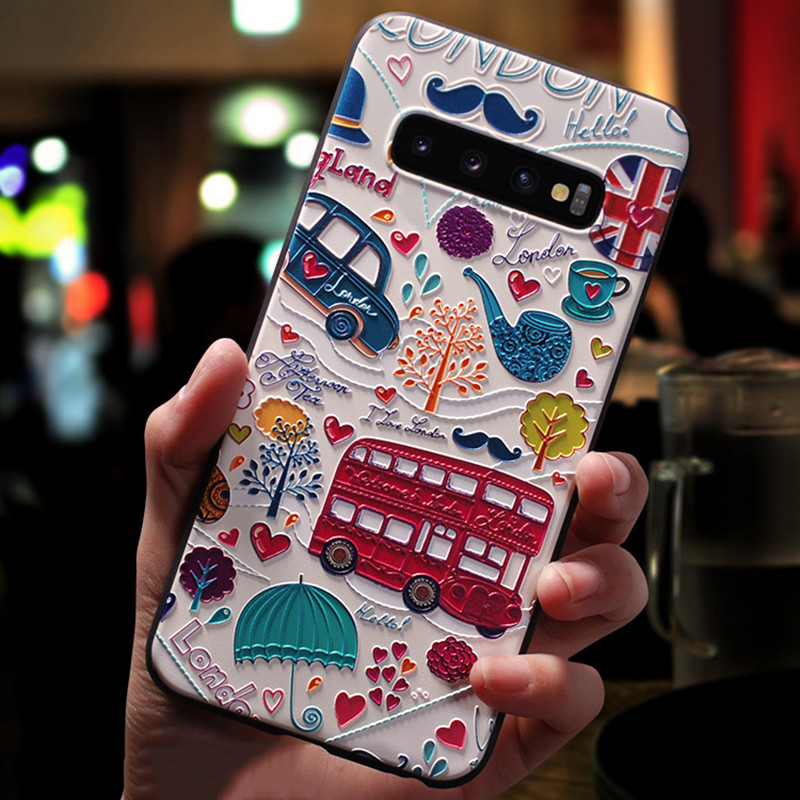 Flower Black TPU Case For Samsung Galaxy S10 Plus S10e S20 Ultra Cover 3D Matte Emboss Coque For Samsung S10plus S10 Plus Cases