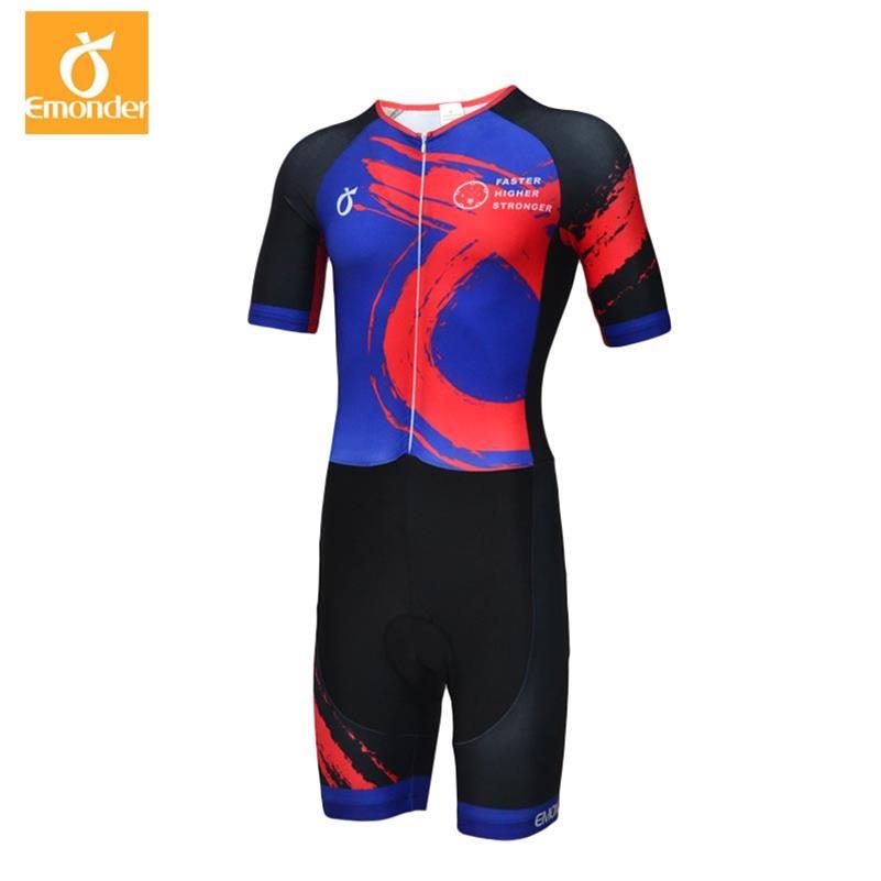EMONDER cyclisme Jersey ensembles à manches courtes Pro équipe Triathlon course costume hommes cyclisme vêtements Skinsuit personnalisé combinaison Maillot Ropa