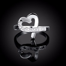 2016 Sale 925 Silver Rings Heart Love Zircon CZ Simulated Diamonds Fashion Acessories Ring Jewelry