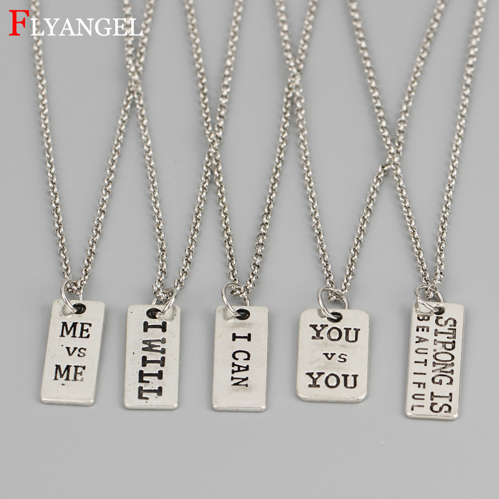 Custom Letter ME YOU I CAN I WILL Neck Accessories Fitness