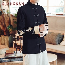 KUANGNAN китайский журавль вышивка курточка бомбер пальто для мужчин Jaqueta Masculina повседневные куртки для мужчин s Casaco Masculino Veste Homme
