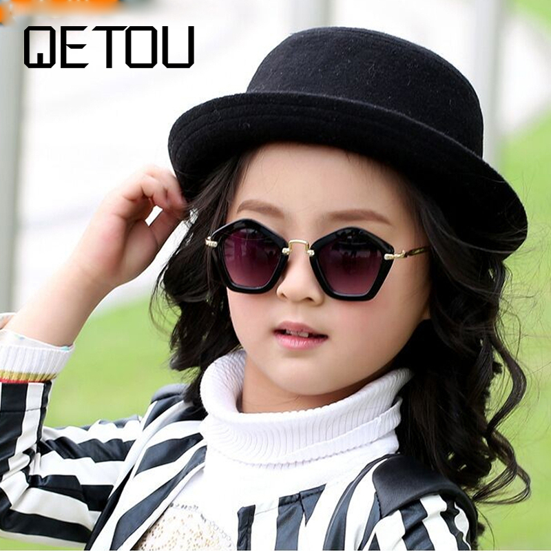 QETOU 2018 Brand Trendy Kids Sunglasses Polygon Children Boys Girls Sun Glasses Sun Shades Baby Glasses Eyeglasses Goggles