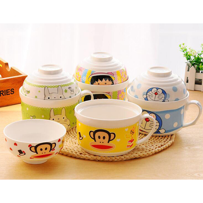 Large Size Cute Cartoon Bowl Set of Instant Noodles Ceramic Bowl With Lids, Bowls-002