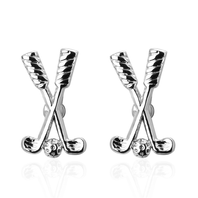 DoreenBeads Alloy Silver Fashion Cufflinks Silver Golf Ball Clubs Creative Personality Gift For Men Boy Cuff Link ,1Pair