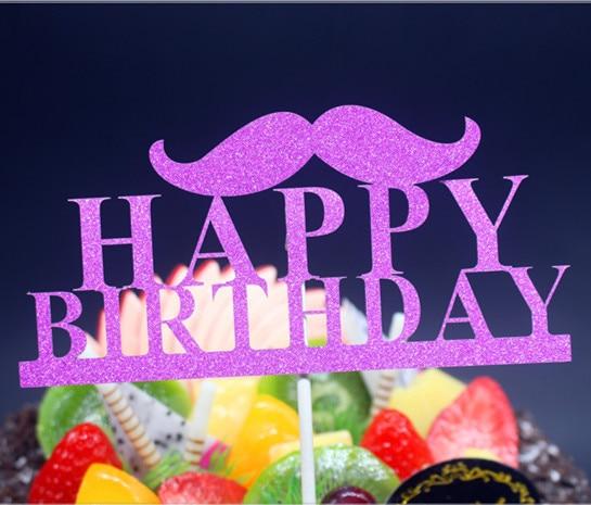 DIY Mutlu Doğum Günü Baba Bıyık Kek Bayrak Topper Doğum Günü - Tatiller ve Partiler Için - Fotoğraf 3