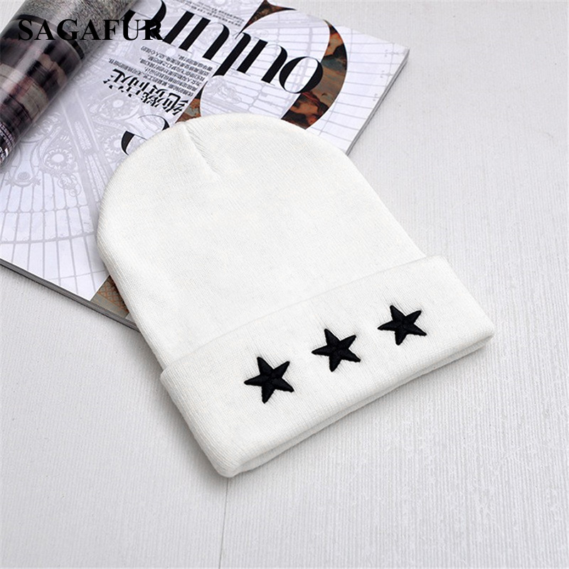 Unisex Leisure Knitted Hat Female Warm Cotton Blends Hat Women's Winter Cap Men Embroidery Stars Hip Hop   Skullies     Beanies   Girls