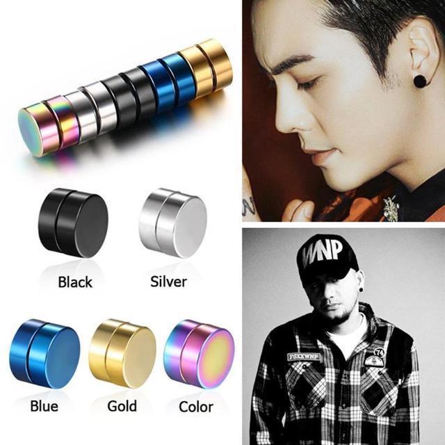 1Pair Punk Women Men Strong Magnet Magnetic Ear Stud Non Piercing Earrings Fake Earrings Gift for Boyfriend Lover Jewelry