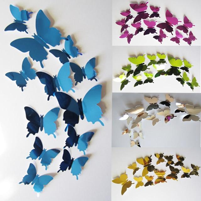 2017 kids diy butterflies wall sticker decal 3d mirror wall art home