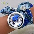 Shsby 2016 Novo design Senhoras de pano da flor relógio de pulso de moda as mulheres se vestem de relógio de alta qualidade relógio tecido doce meninas assistir