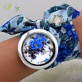 shsby 2016  New design Ladies flower cloth wrist watch fashion women dress watch high quality fabric clock sweet girls watch