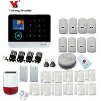 YoBang Security Touch Keypad IOS Android APP Wireless GSM Alarm Remote Monitoring GSM SMS RFID Burglar Alarm Solar Power Siren.