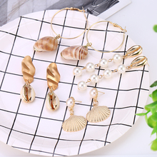 HOCOLE Fashion Gold Shell Drop Earrings For Women Trendy Statement Dangle Wholesale Factory Jewelry Vacation 2019