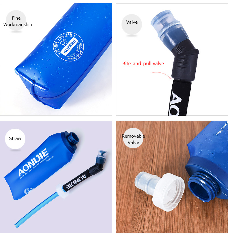 Foto of properties water's flask folding TPU for sport. Collapsible flask of water 500ml for hiking