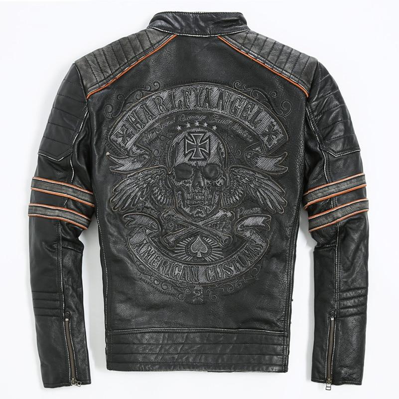 2018 Vintage Black Men Biker's Leather Jacket Embroidery ...