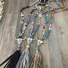 2016 Nueva Artesanía Étnica Tíbet Plata Tauren Cuero Joyería de La Vendimia de La Borla Collar Largo Colgantes