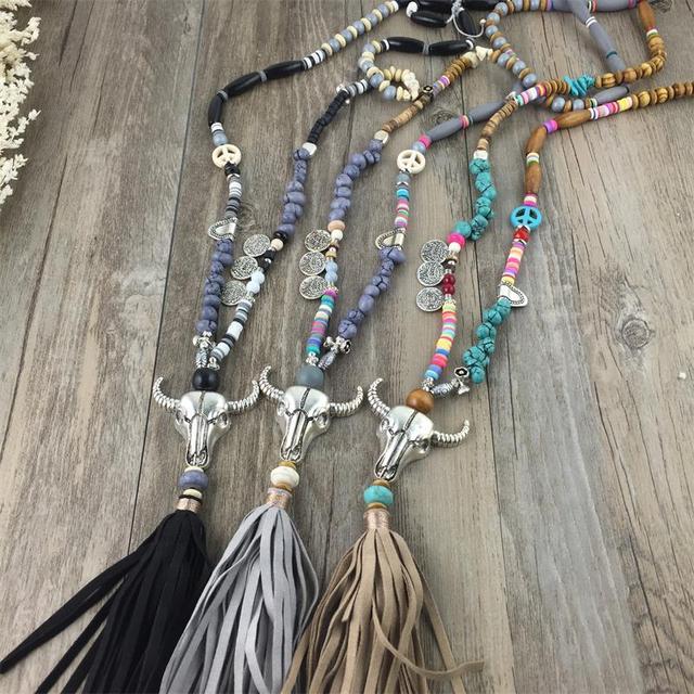 2016 New Ethnic Handcraft Tibet Silver Tauren Vintage Jewelry Leather Tassel Long Necklace Pendants