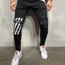Erkek serin tasarımcı marka dar kot sıska yırtık streç Slim Fit Hop Hop pantolon delik erkekler için baskılı kot