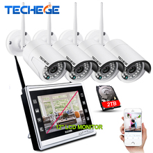 Techege 4CH Wireless 1080P NVR Kit HD 2.0MP Wireless CAMERA 4CH wifi NVR 12″ LCD Monitor Security Camera System Plug And Play
