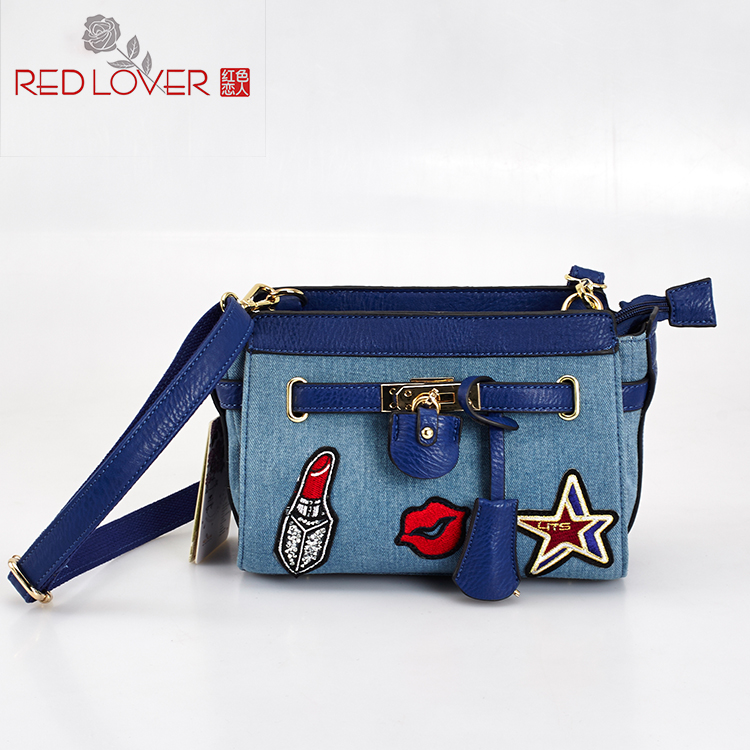 ФОТО 2016 New style lady's messenger bag Canvas crossbody bag Red Lover leisure shoulder bag Flap cloth bags