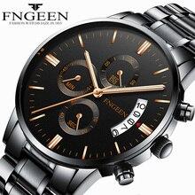 FNGEEN Causal Men Watch Sport Stainless Steel Waterproof Quartz Wristwatches Male Simple Fashion Mens Watches Brand Date Relogio