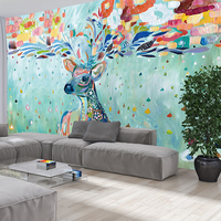 Custom Color Moose Large Murals European Simple Television Background Wall Paper Living Room Bedroom Painted Wallpaper