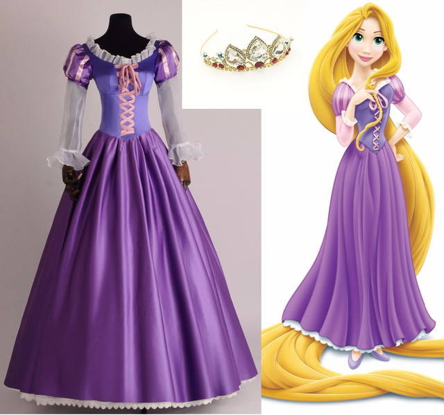 6a7a5d38e The Princess Rapunzel Fancy Dress Adult Costumes for Halloween Party Tangled  Crown Tangled Cosplay Costumes for Women