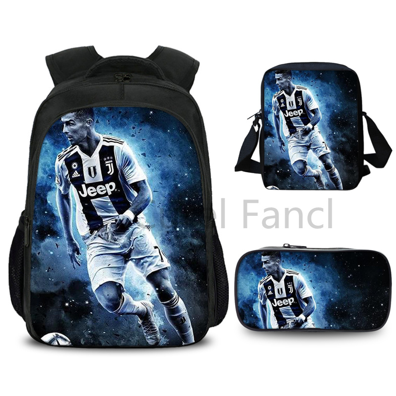 3 Pcs High Quality Cristiano Ronaldo CR7 Backpack Fashion Surprise Gift Travel Rucksack Students Boys Girls School Bag Schoolbag