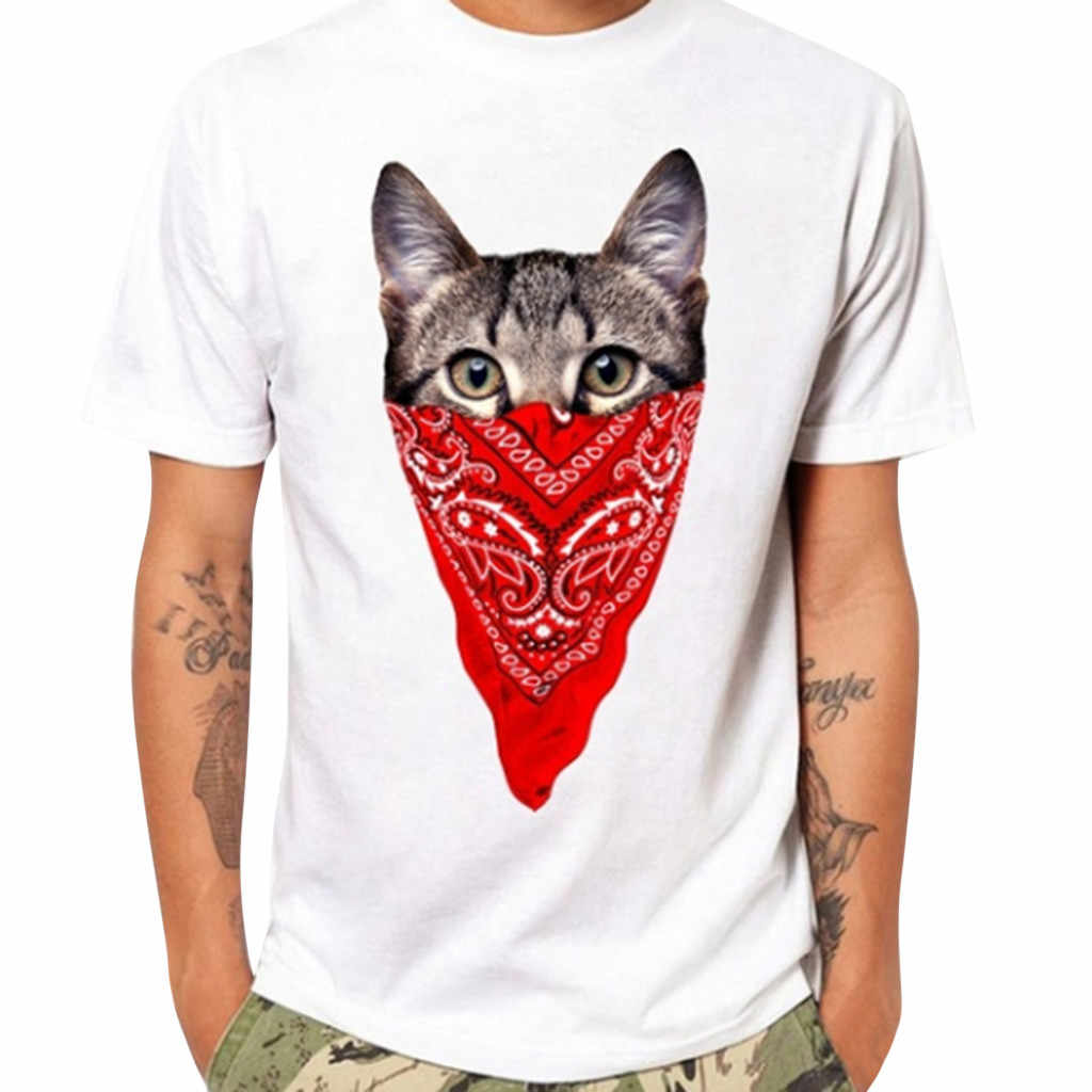 Summer Mens Fashion Casual Animal Print T Shirts Solid Color Short Sleeve T-Shirt Round Neck Daily Casual Plus Size Blouse YL4