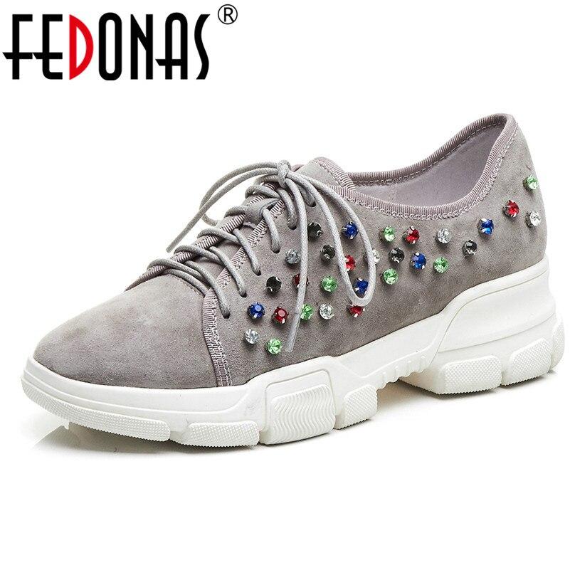 FEDONAS nouvelles femmes Sneaker 2019 mode strass à lacets enfant daim parti plates-formes de travail chaussures femme chaussures élégantes Rome