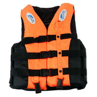 6 Sizes Swimmwing Boating Polyester Adult Life Jacket Foam Vest Survival Suit With Whistle For Swimming