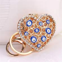 Special Lady Evil Eye Bead Good Lucky Rhinestone Heart Charm Keychain Blessing Amulet Keyring