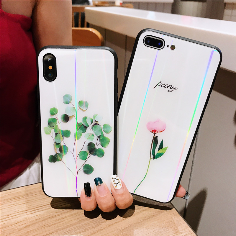 Laser Green Leaves Tempered <font><b>Glass</b></font> <font><b>Case</b></font> For <font><b>OPPO</b></font> F5 A57 A59 A73 A79 A83 <font><b>A3</b></font> A5 A7 R15X K1 F9 A7X R9 R9S R11 R11S Plus R17 Pro <font><b>case</b></font> image