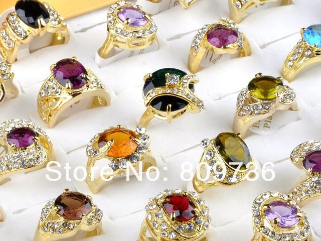wholesale jewelry lots 20pcs gold plated cz rings mulcticolor crystal wedding rings fashion rings for women Free Shipping