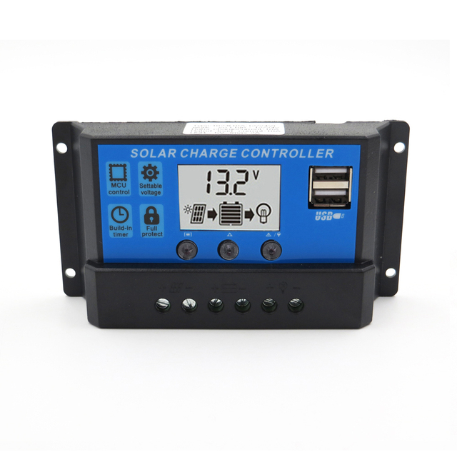 LCD 60A 50A 40A 30A 20A 10A 12V 24V PWM Solar Charge Controller 5V Output Solar Cell Panel Charger Regulator PV