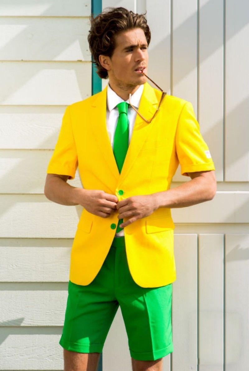 Summer Fashion Yellow& Green <font><b>Men's</b></font> <font><b>Suits</b></font> <font><b>Shorts</b></font> Beach Wedding Custom 2018 NEW image