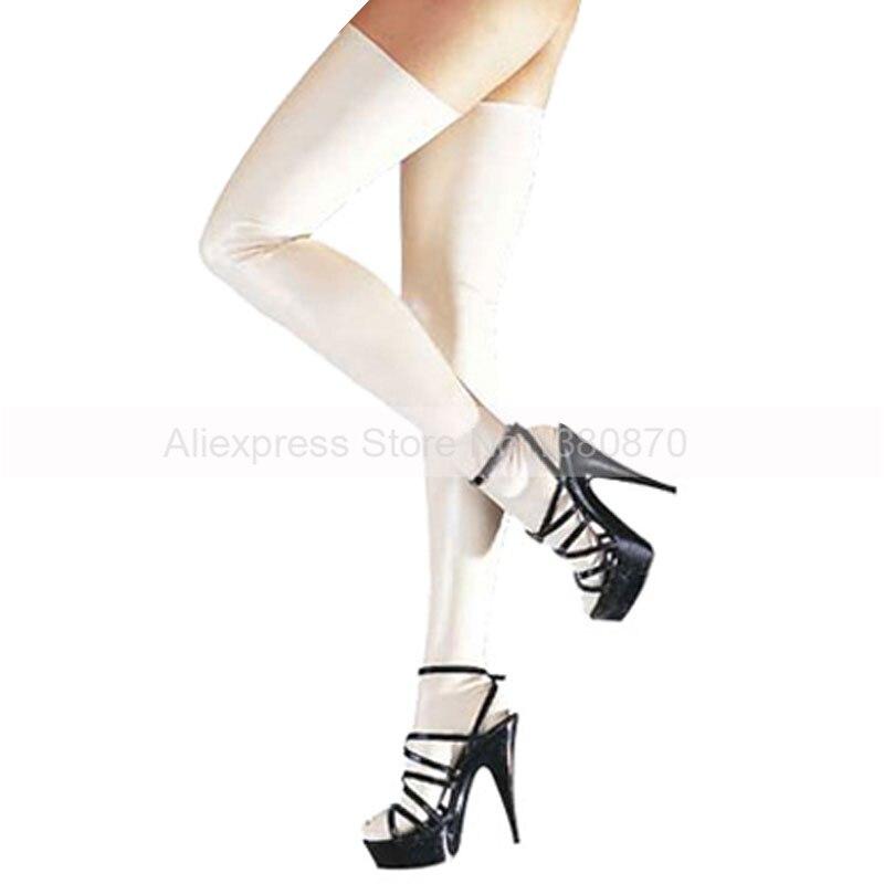 White Rubber Latex Stockings Tight Slim Legs Wear S LA015