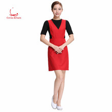 Cosmetician work clothes dress spring beauty salon health SPA clubhouse suspender skirt T-shirt 2 sets
