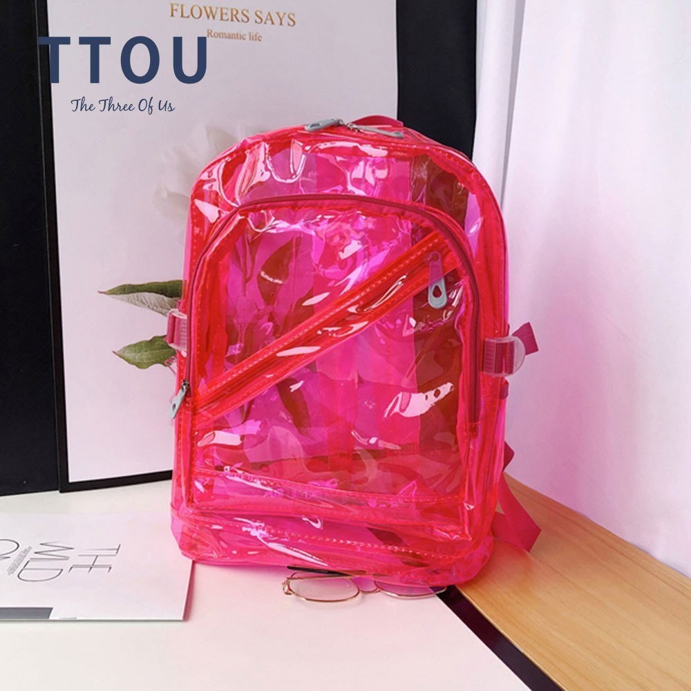 TTOU Waterproof Backpack Transparent Clear Plastic For Teenage Girls PVC School Bags Shoulders Bag Candy Color Zipper Backpack