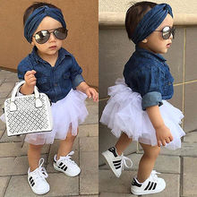 New Kids Baby Girls Denim Tops Shirt + Tutu Skirts Dress + Headband 3pcs Outfits Set Clothes Clothing