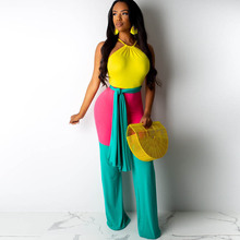 Best selling new womens colorblock jumpsuit urban casual fashion strap summer sexy tight long
