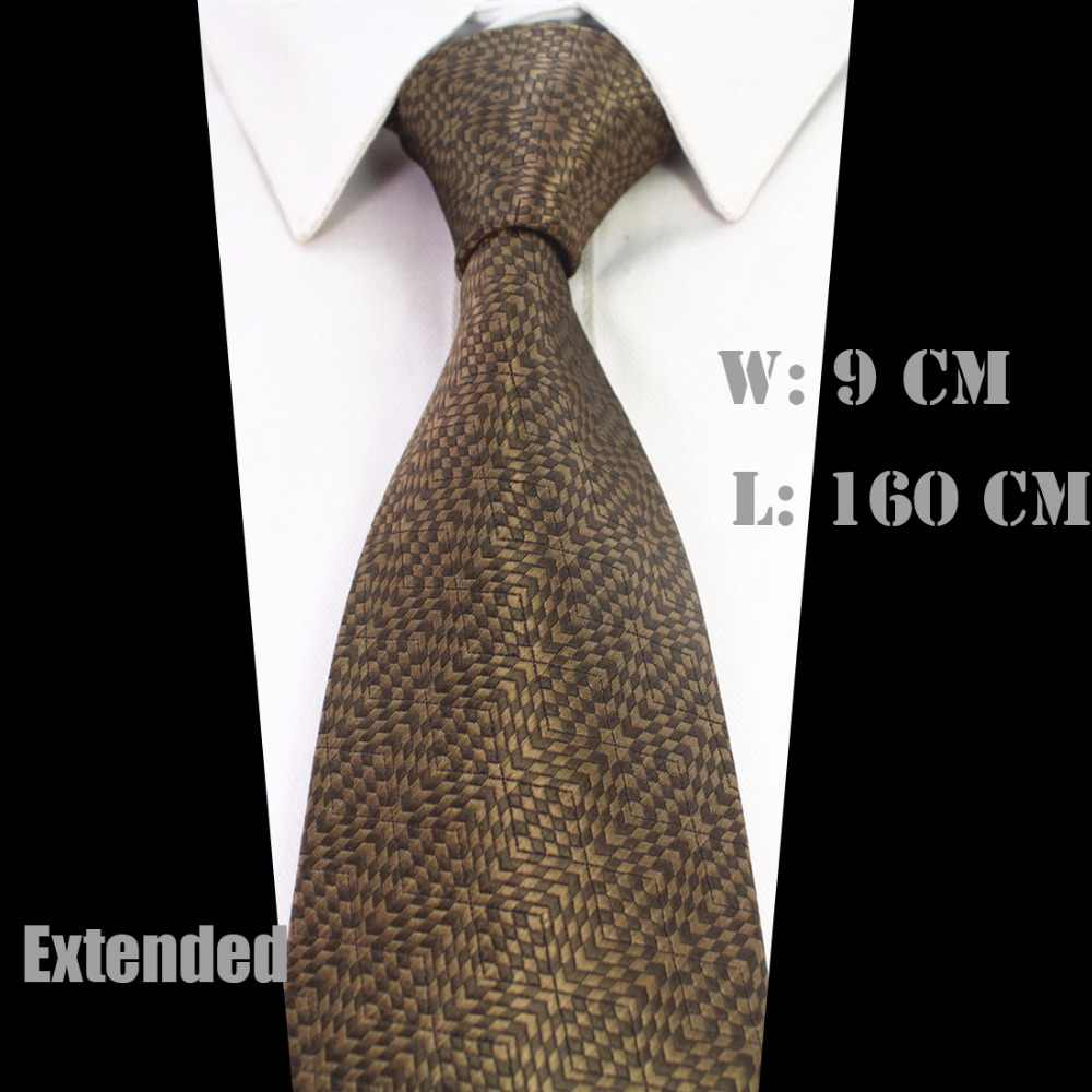 GUSLESON nuevo Arrivel Extra largo tamaño corbata para hombres 160cm * 9cm corbata a cuadros seda Paisley estilo Jacquard tejido cuello corbata traje de fiesta de boda