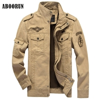 ABOORUN 2017 Mens Military Jackets US Air Force Spring Winter Cotton Jackets For Men Thick Velvet