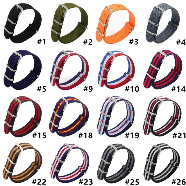 1pcs Nylon Watchband Silver Buckle for Daniel Wellington 18mm 20mm 22mm Luxury R