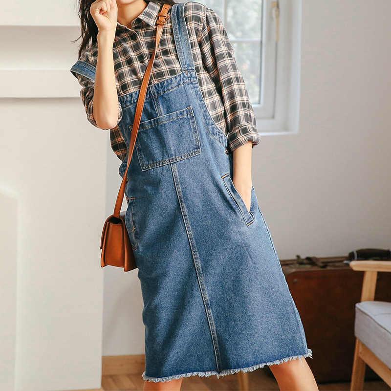 Весенняя однотонная джинсовая юбка на бретельках, женское платье с карманом, матовый подол, джинсовый ремешок, длина до колена, женский комбинезон в студенческом стиле