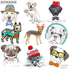 ZOTOONE Cute Dog Iron On Animals Patches For Kid Clothes DIY T-shirt Applique Heat Transfer Cheap Cartoon Stickers E
